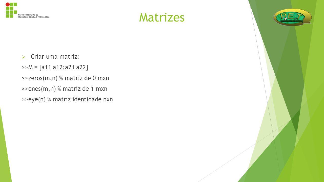 Matrizes Criar uma matriz: >>M = [a11 a12;a21 a22]